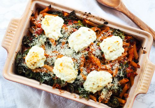 spring baked pasta with lemon ricotta