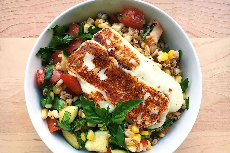 halloumi with mediterranean salad