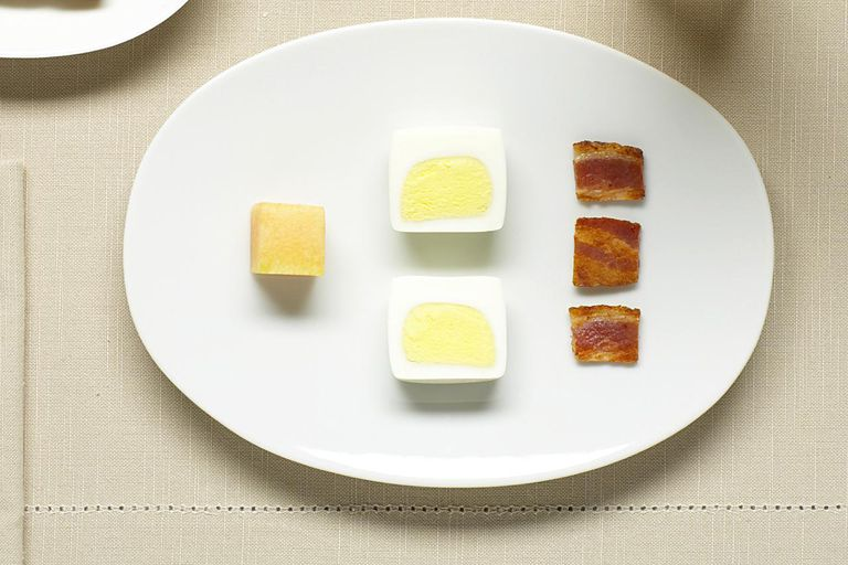 hard-boiled eggs bacon cantaloupe toast jam orange ju
