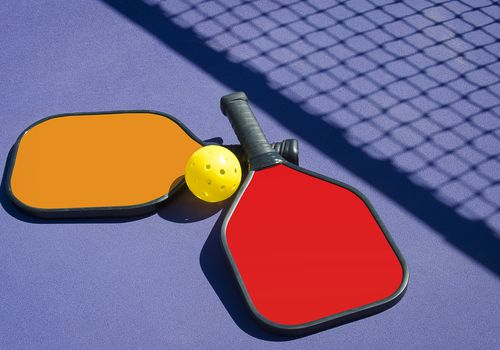 Pickleball - Two Paddles and A Ball in Net Shadow