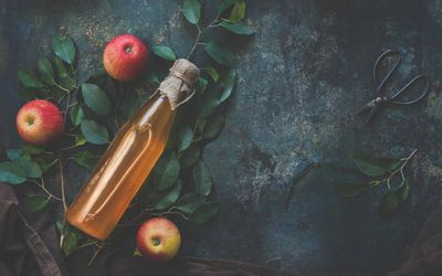 Homemade apple cider vinegar on dark rustic background with apples - stock photo