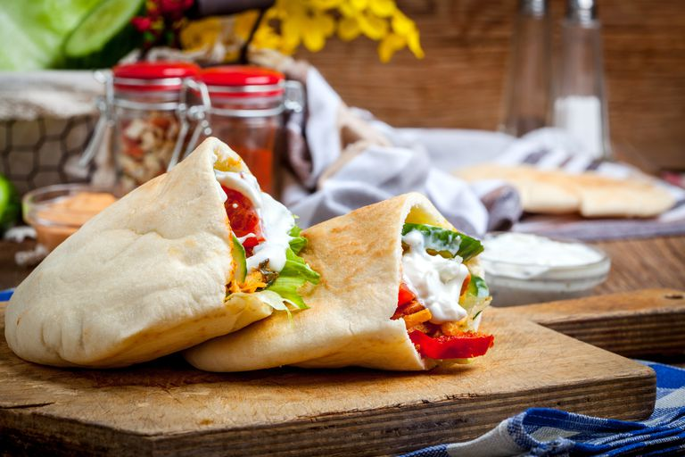 meat with vegetables in pita bread