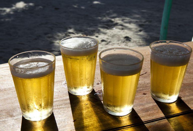 light beer in glasses