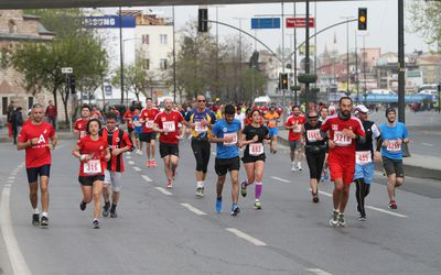 Athletes are running in Old Town streets of Istanbul during Vodafone 10th Istanbul Half Marathon