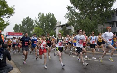 Runners racing in a 10k