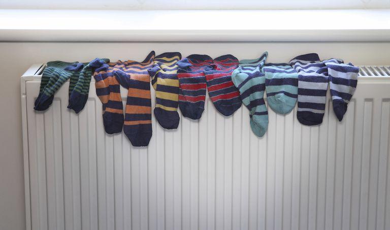 Socks drying on radiator