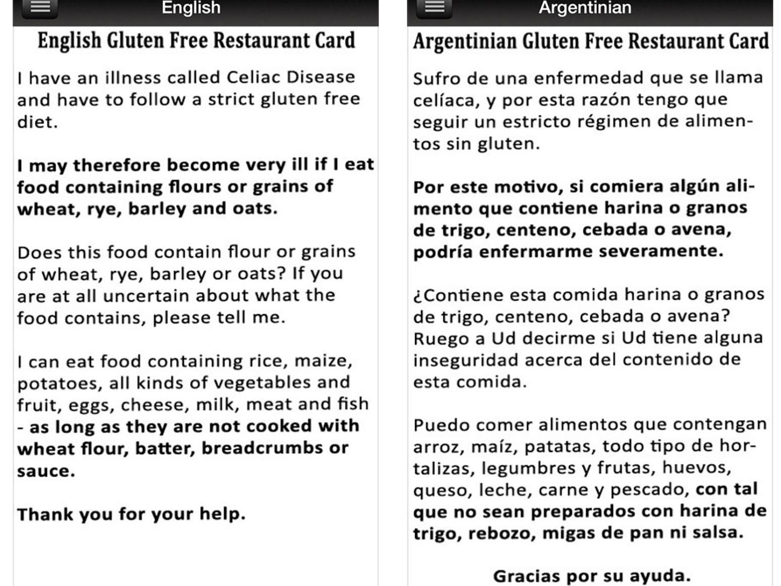 6 Sources Of Gluten Free Restaurant Cards