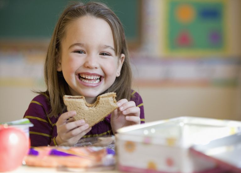 A healthy lunch is important for a child.