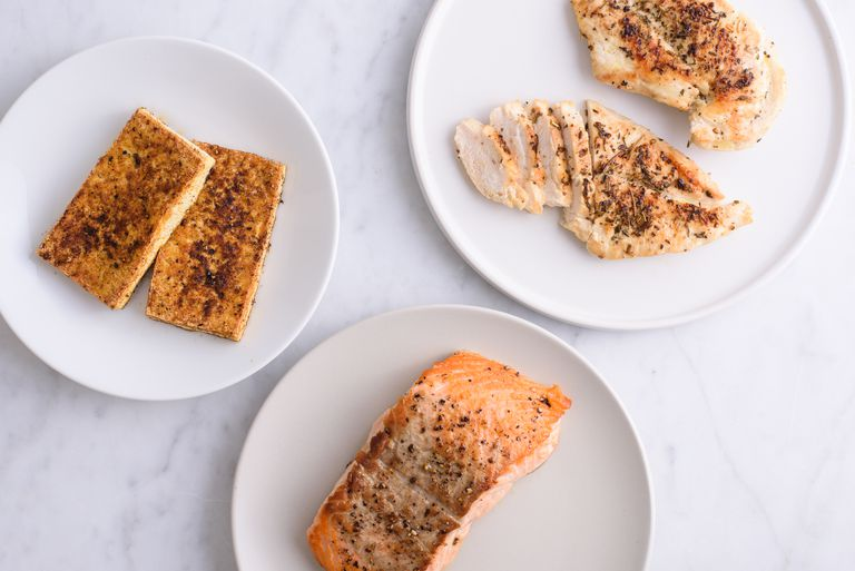 group of proteins: tofu, chicken, salmon