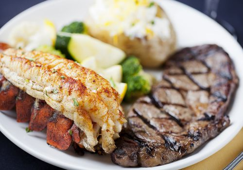 Surf and turf: dinner of steak, lobster tail