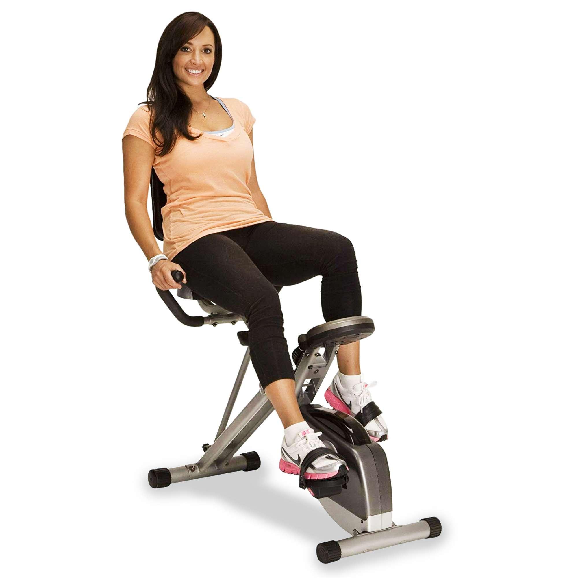 Bicicleta estática reclinada plegable plegable Exerpeutic con pulso