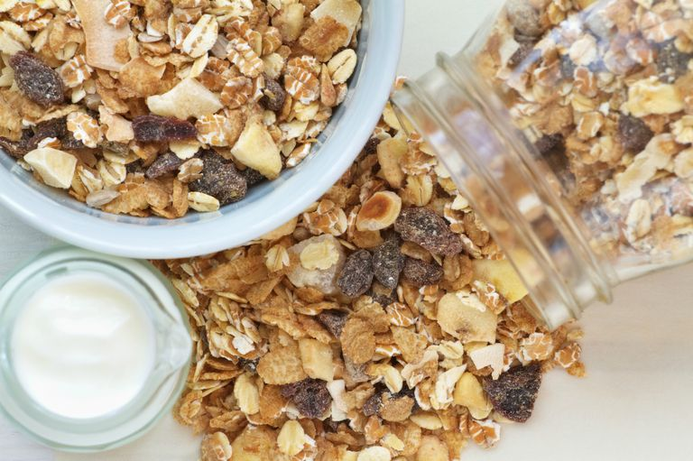 Oats and granola in a jar
