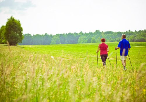 Active seniors walking in a meadow