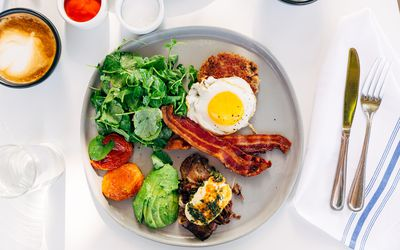 Healthy keto breakfast, directly above view