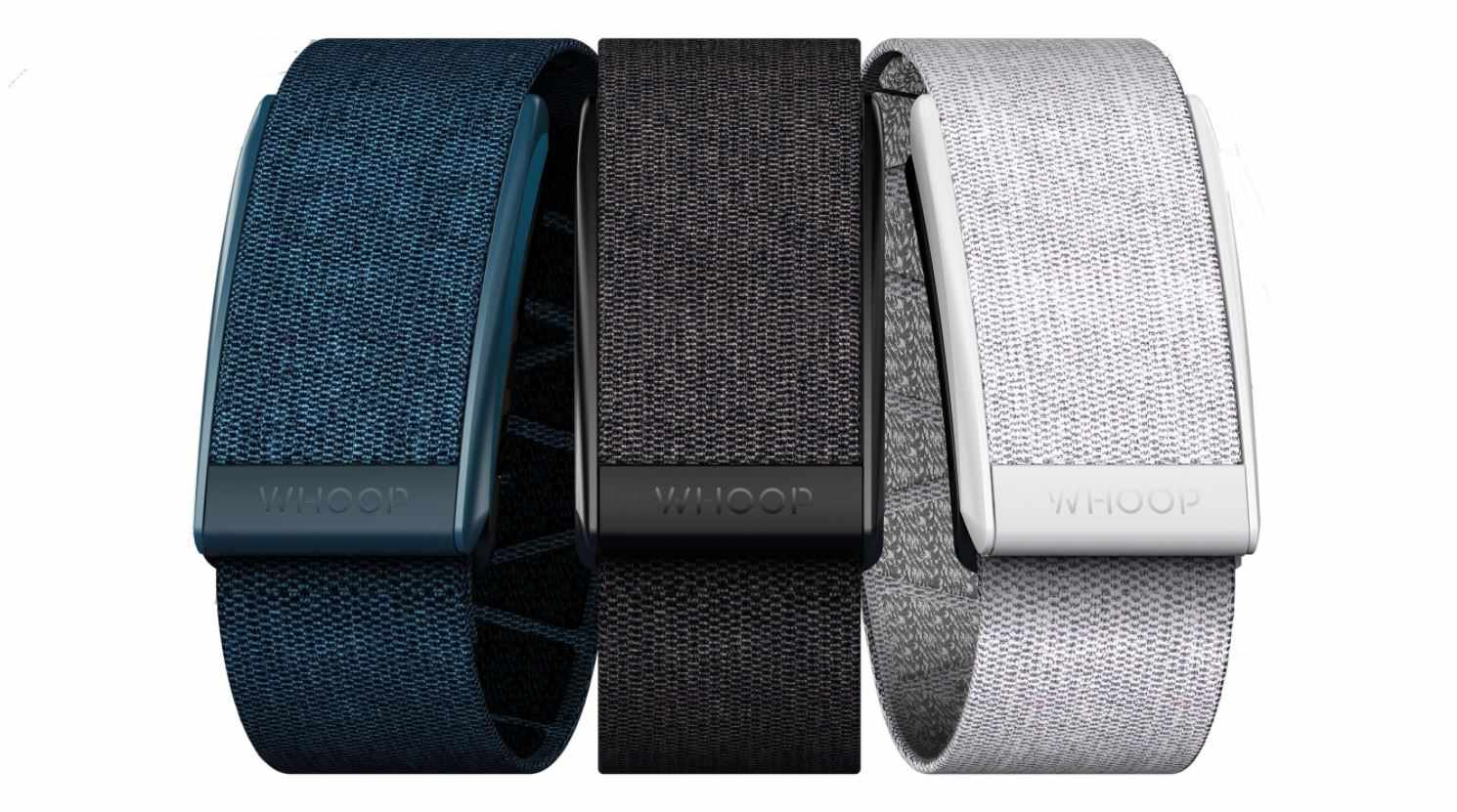 Three fitness wearable devices against a white background.