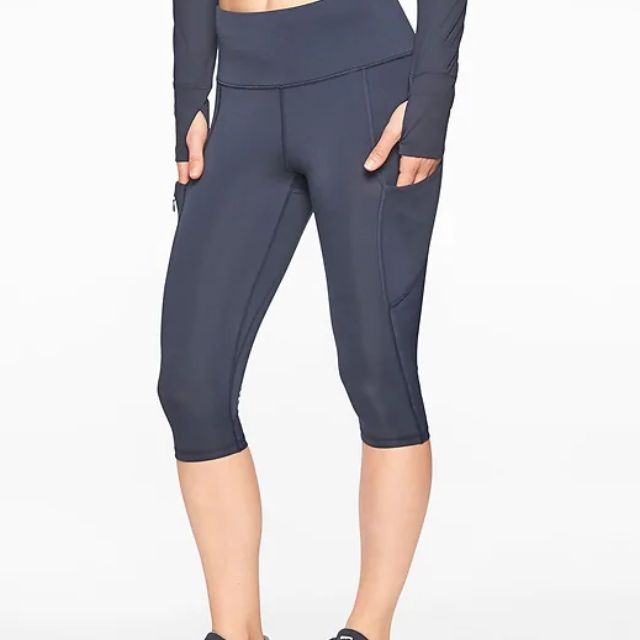 NEW UA UNDER ARMOUR Women Ladies Capri Pants Tights S Small Blue//Black NEW NWT