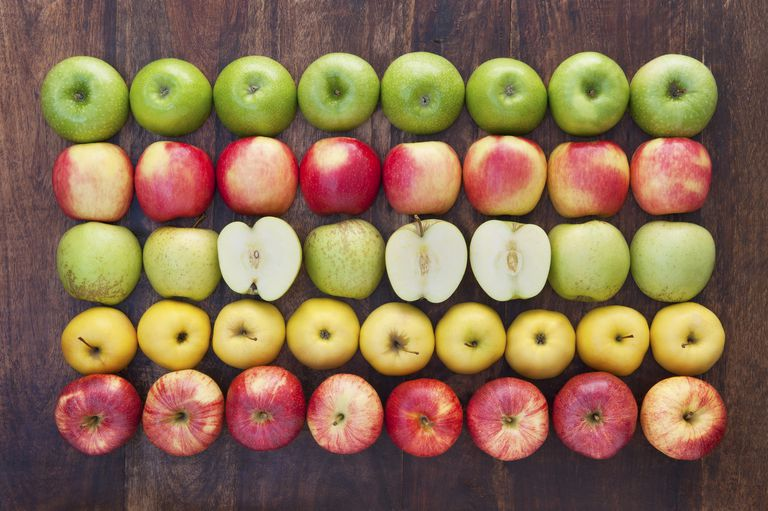 Different varieties of apples