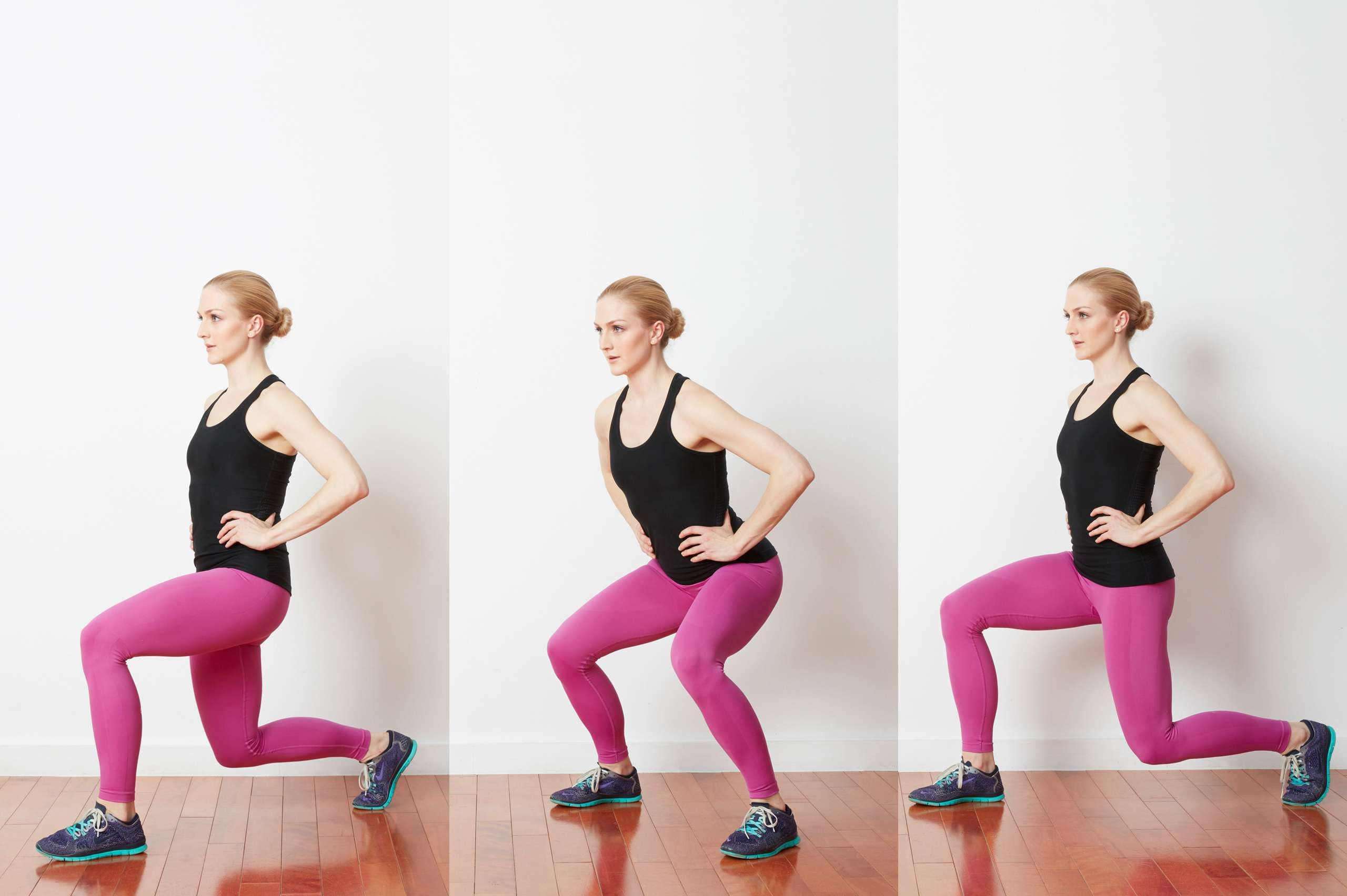 Woman doing around the world lunge