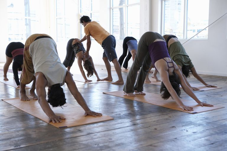 Class in Downward Facing Dog