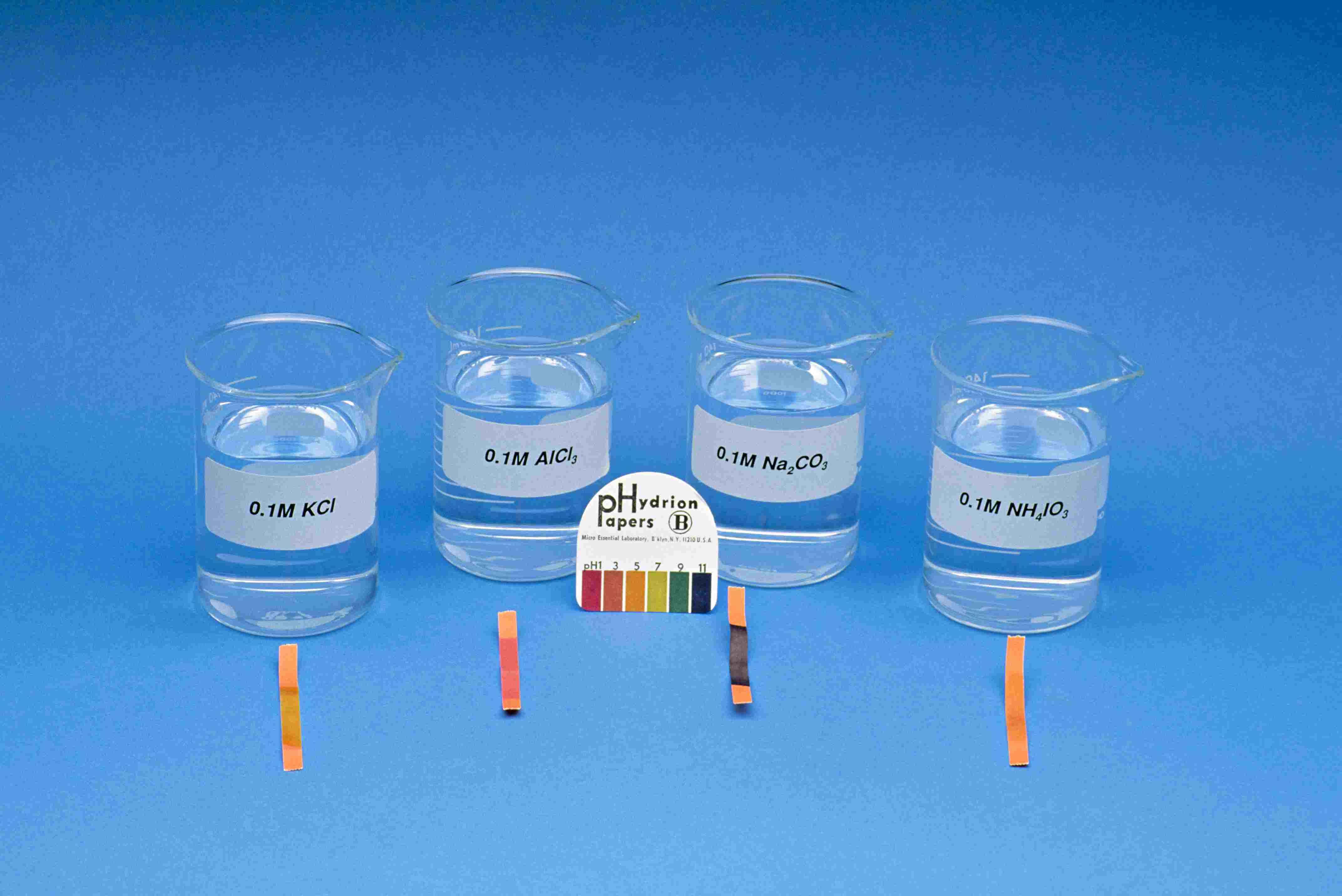 Hydrion Paper indica el pH de varias soluciones ácidas y básicas.  El papel de pH muestra que el pH de las soluciones salinas puede variar según la fuerza de sus ácidos y bases.