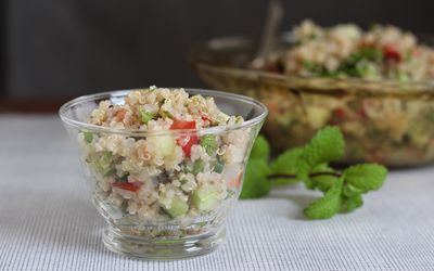 Loaded Mediterranean Salad With Cauliflower Tabbouleh pics