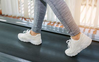 Runner's feet on home treadmill
