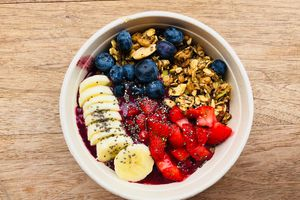 Acai bowl with fruits and seeds