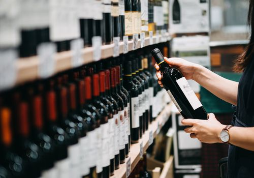 Person looking at wine