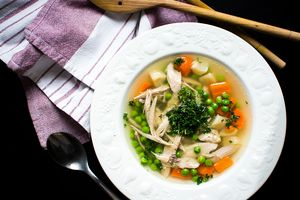 Chicken soup with vegetables is a quick meal.
