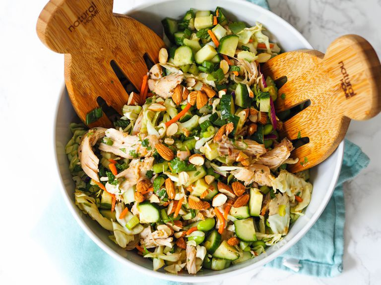 Low Carb Asian Chopped Salad With Garlic-Ginger Chicken