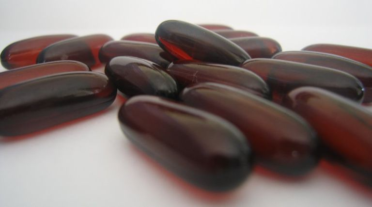 Fish oil (omega-3 fatty acid) supplemental capsules