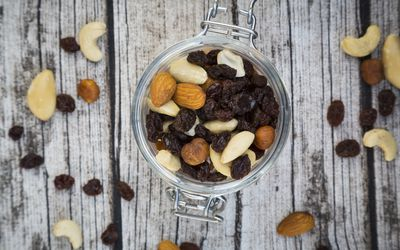 Nut and dried fruit mix in a container