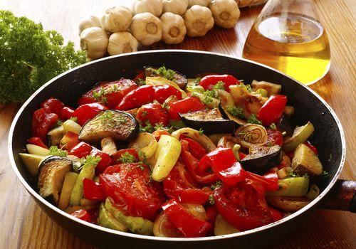 summer vegetables in saute pan