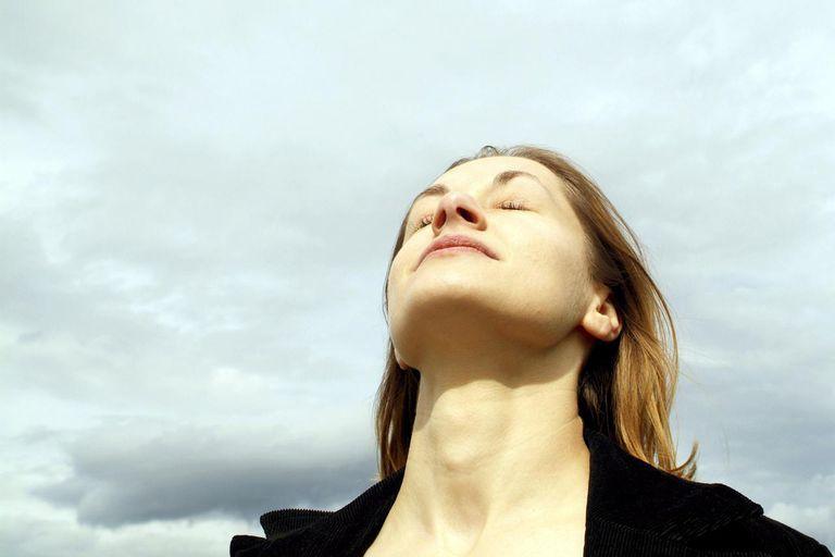 Woman breathe fresh air