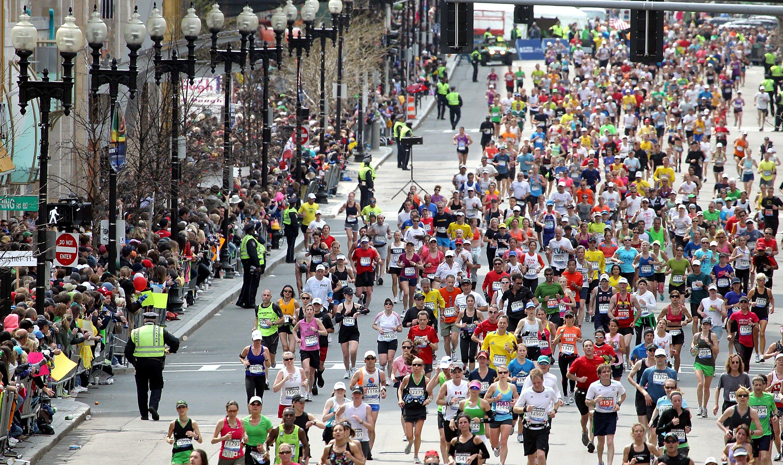Corredores en Boston Marathon