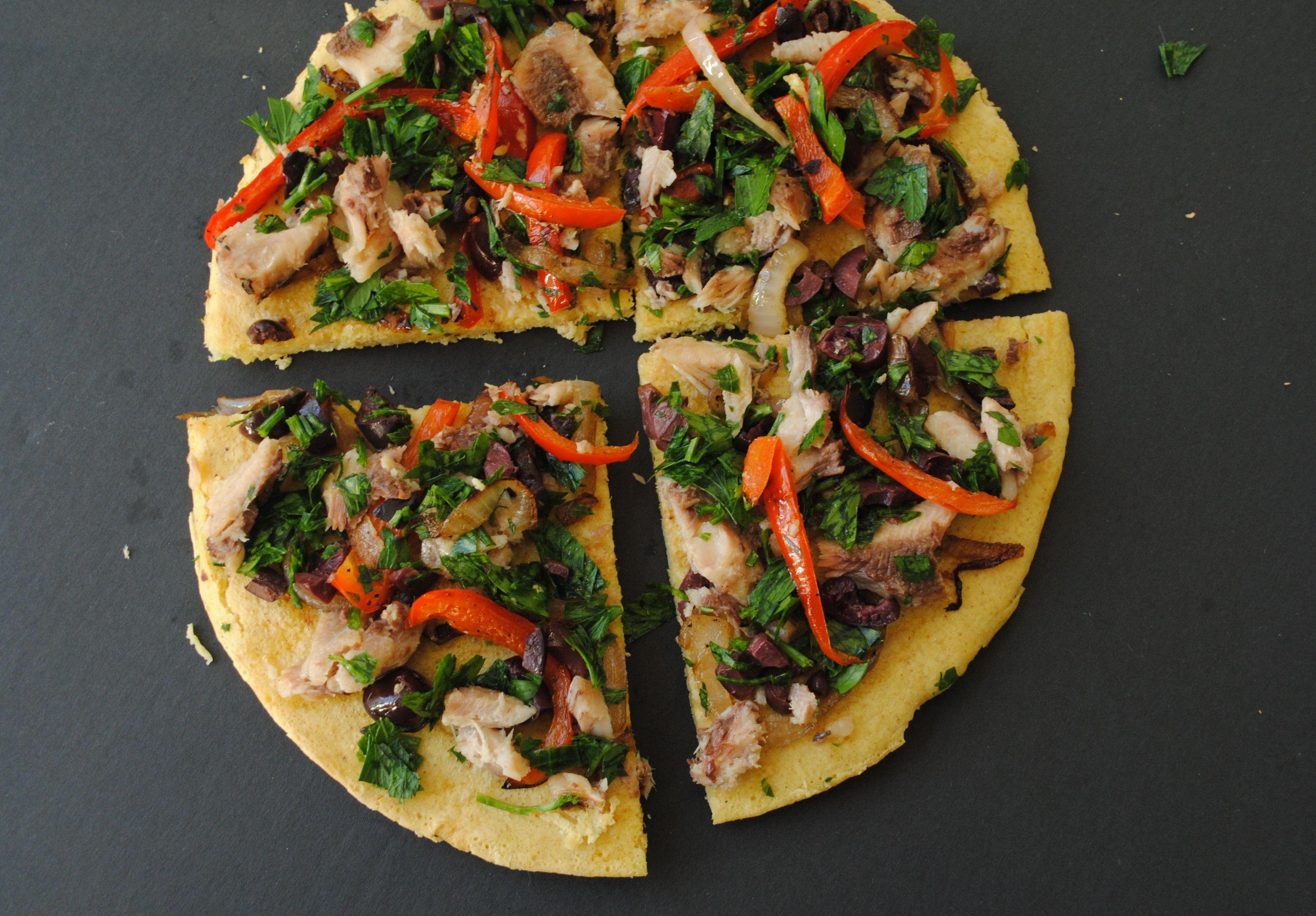 Receta de pizza mediterránea de socca
