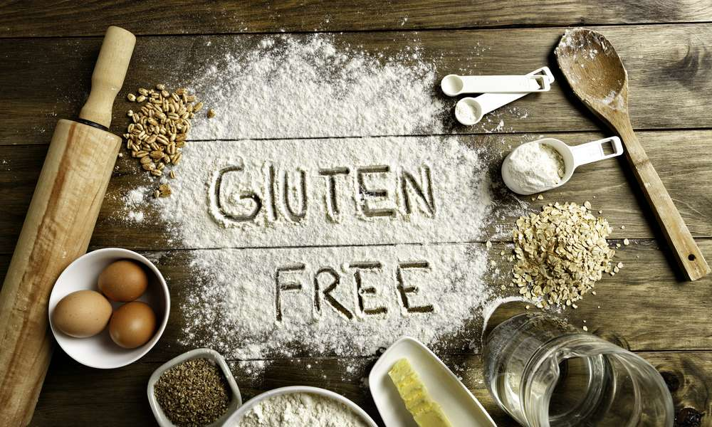 gluten-free ingredients on wooden board