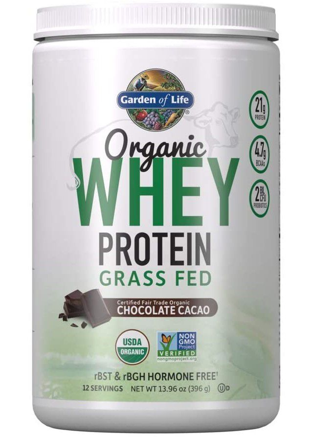 Garden of Life Certified Organic Grass Fed Whey Protein Powder Chocolate