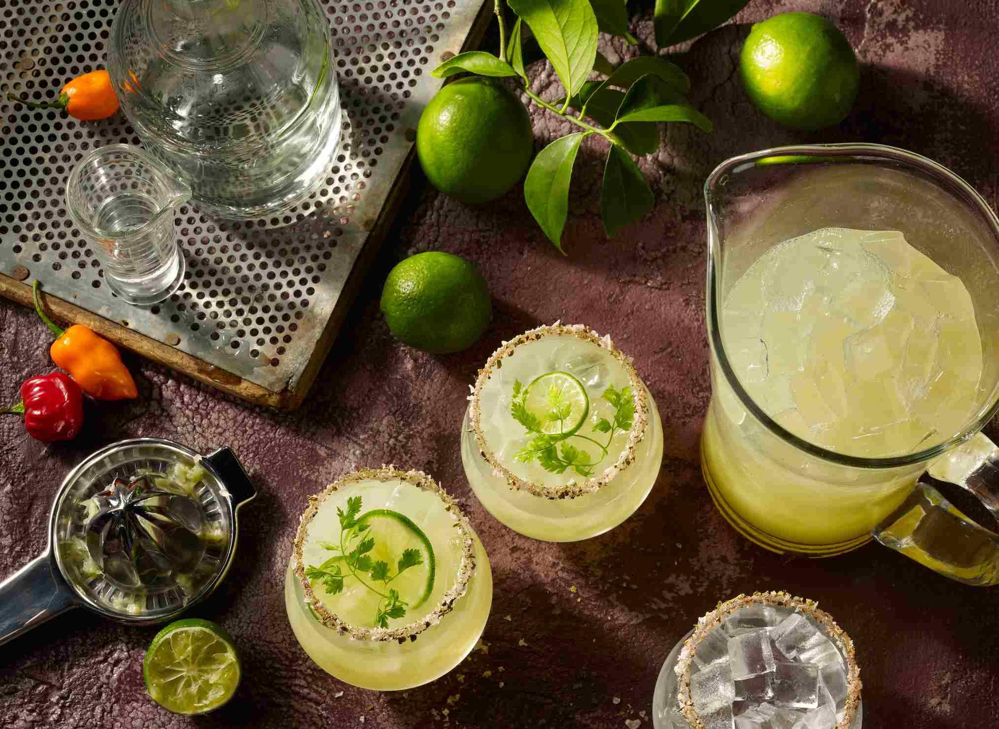 Margaritas preparadas desde una vista aérea