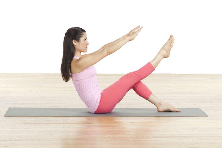 Pilates one leg teaser.