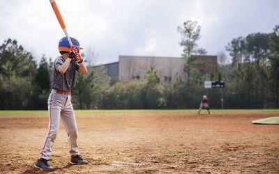 Boy at bat in baseball game