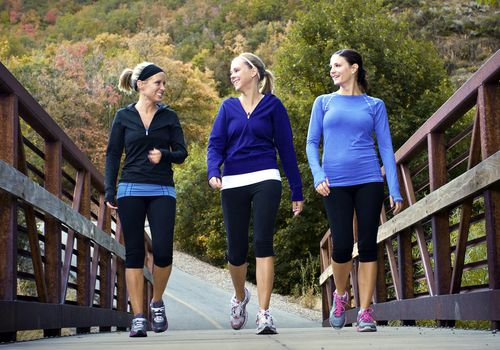 Three Young Walking Women