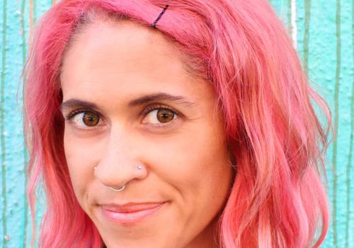 Headshot with pink hair
