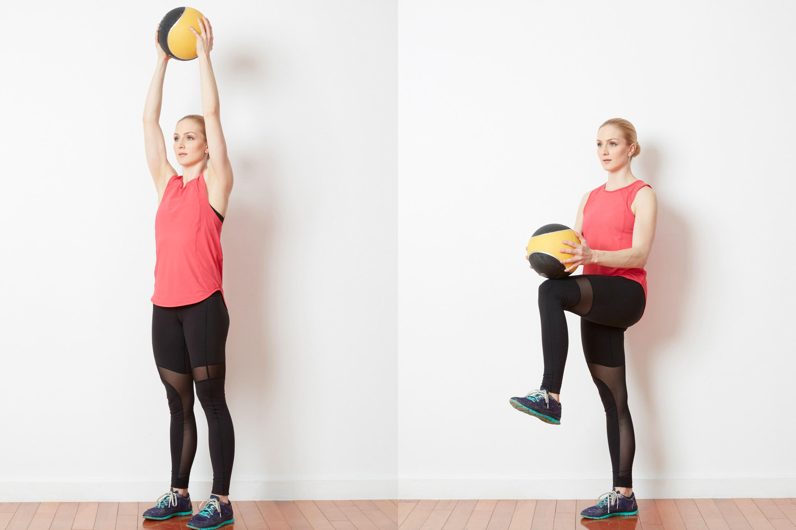 Knee Lifts with a Medicine Ball