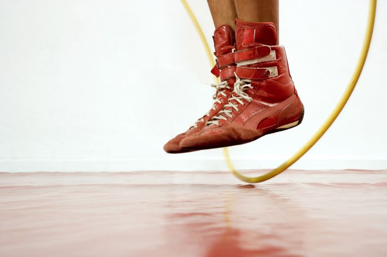Close up of a person's feet while they jump rope