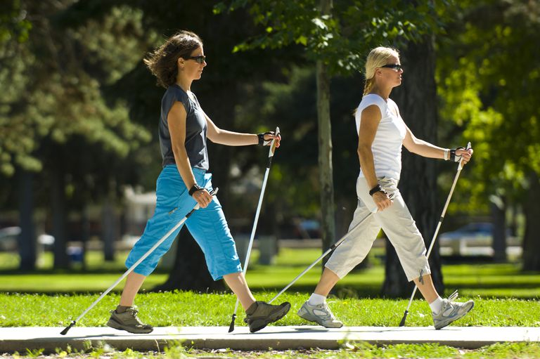 Two Women Nordic Walking