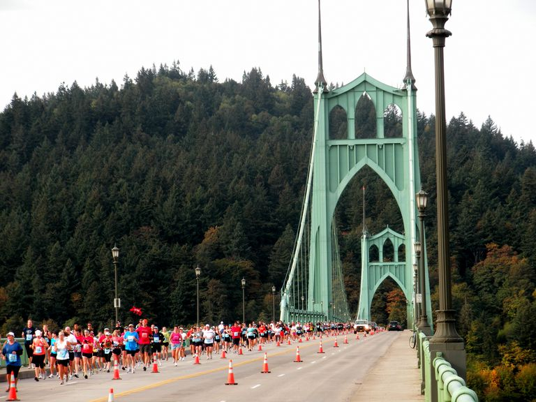 Portland Marathon Crosses St. Johns Bridge - Full Size