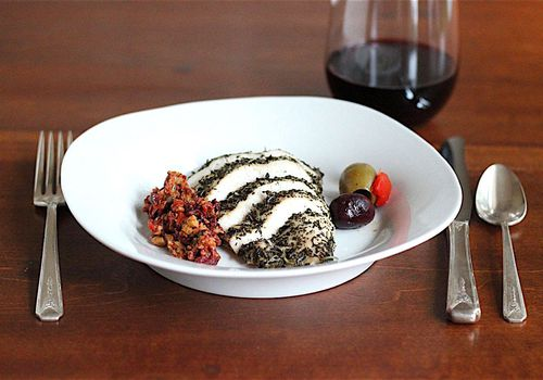 herb chicken and tapenade