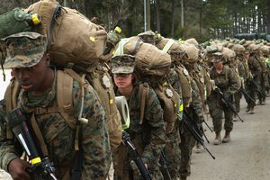 Military recruits at boot camp.
