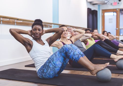 Women working out in a studio class